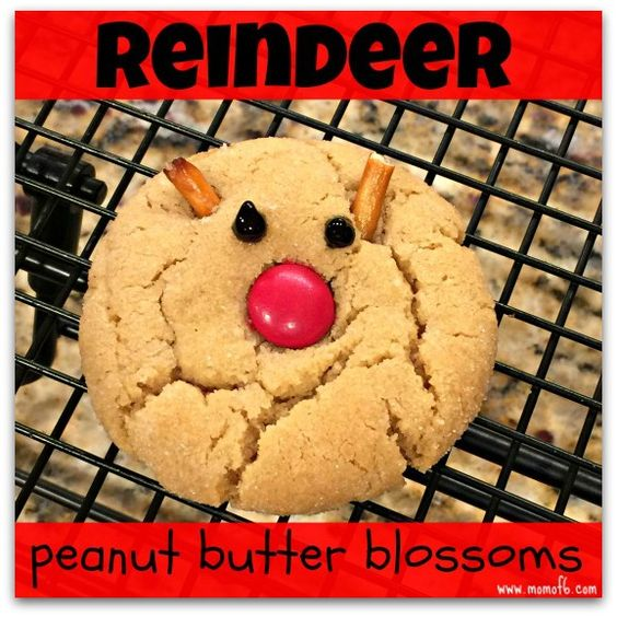 This recipe for traditional peanut butter blossom cookies is fancied up a bit when you add a red M&M to make a reindeer's nose and a little pieces of pretzel sticks for antlers!