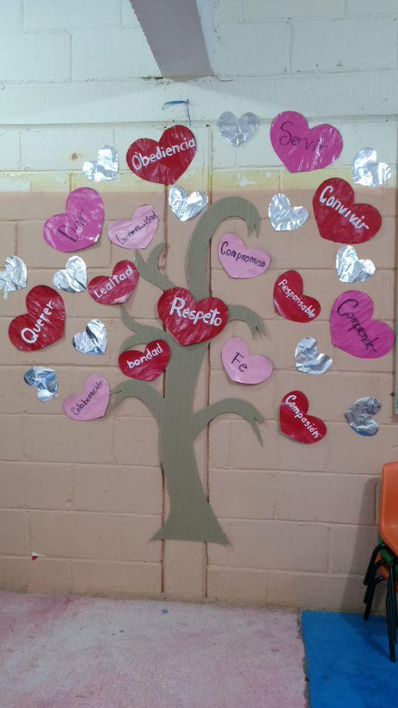 Arbol de los valores del amor y la amistad adorno salon for Actividades divertidas para el salon de clases