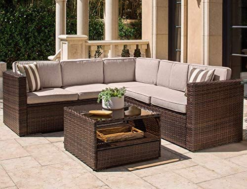 Solaura Outdoor 4 Piece Sofa Sectional Set All Weather Brown Wicker With Beige Cushions Glas Wicker Sectional Outdoor Sectional Sofa Wicker Outdoor Sectional
