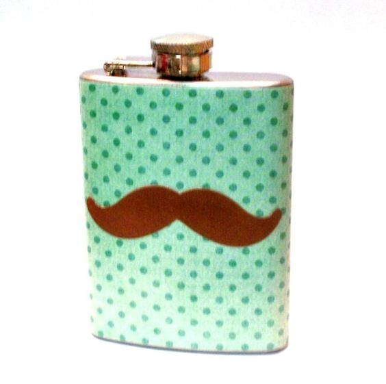 Dot Brown Stache Flask. Of these!