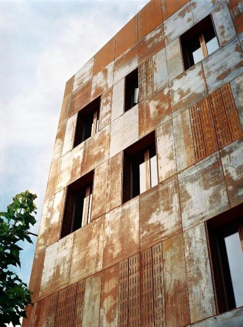 weathered corten steel facade architecture materials. Black Bedroom Furniture Sets. Home Design Ideas