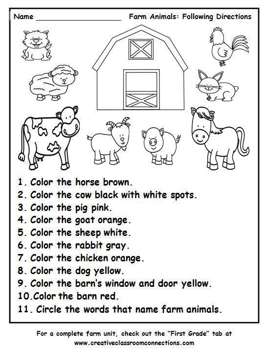 Das Arbeitsblatt Tiere Auf Dem Bauernhof Anweisungen Befolgen Enthalt Ubun Das Arbeitsblatt Anweisungen In 2020 Farm Preschool Preschool School Activities