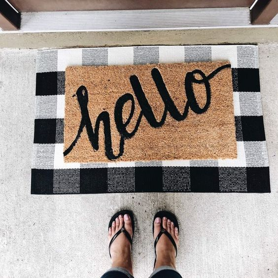 Update Your Doormat For Fall And Winter With A Layered Look Love This Plaid Mat Underlay And The Simple Script Farm House Living Room Front Door Mats Door Mat