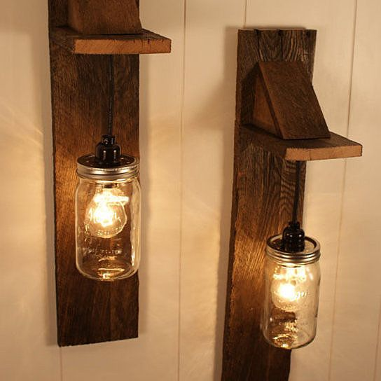 Wall Mounted Fruit Jar Lights : Wall mount, Jars and Lighting on Pinterest