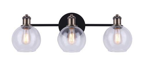 Patriot Lighting Karris Matte Black And Gold 3 Light Vanity Light Vanity Lighting Light Lighting