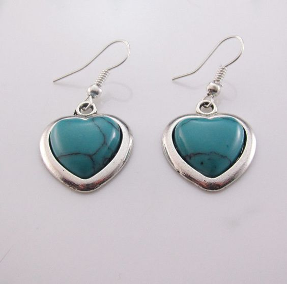 Heart Pendant Turquoise Gemstone Earrings Silver Plated - Gift Boxed - pinned by pin4etsy.com