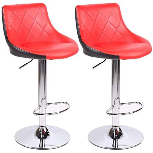 Huiqi Modern Bar Stool Set Faux Leather Look Adjustable 360 Rotating Gas Lift Chrome Footstool And Breakfast Bar Co Modern Bar Stools Bar Stools Footstool