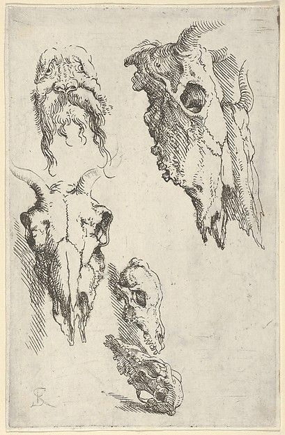 """Salvatore Rosa, Three Ox Skulls, Two Horse Skulls and a Grotesque Head - Study for """"Democritus in Meditation"""", Met"""