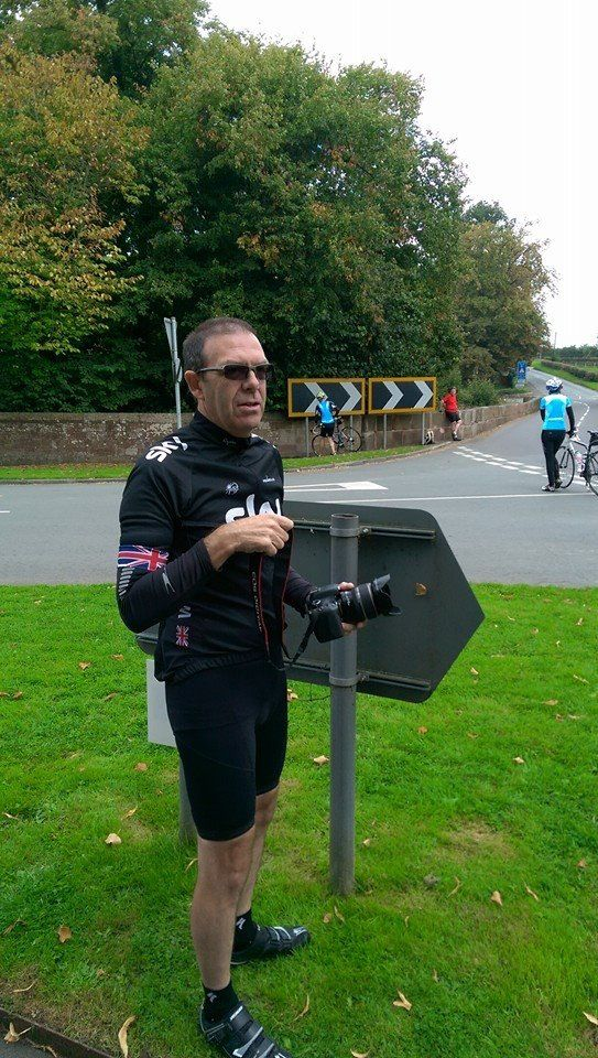 Steve getting ready for tour of Britain 2014 to go past