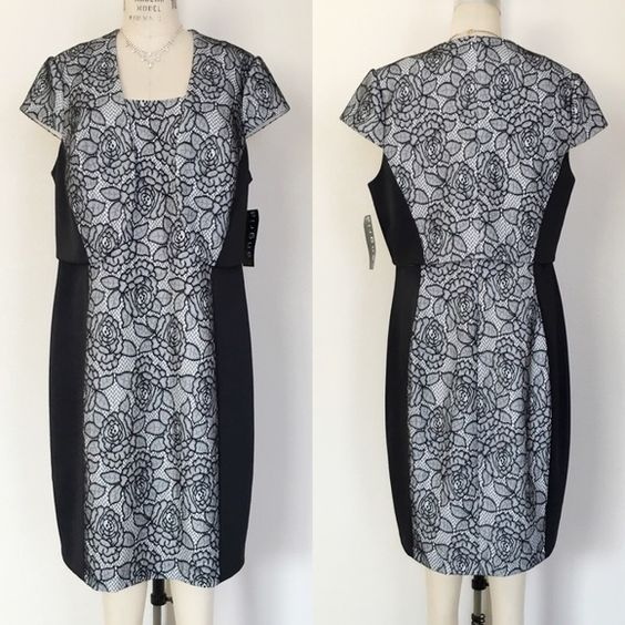 Sangria Black White Lace Dress With Jacket Nwt Sheath Dresses