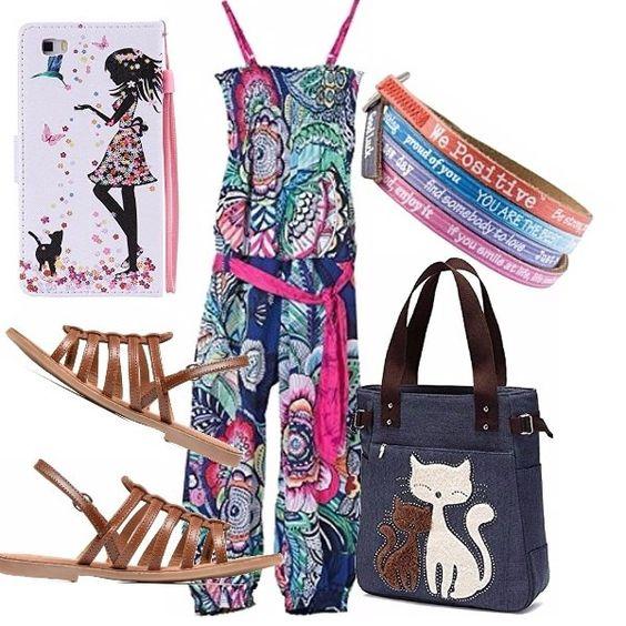 Outfit pensato per una teen ager! Tuta multicolore con spalline e cintura in vita. Sandali color cuoio; simpatica borsa con manici e stampa di gattini. Porta smartphone con stampa, bracciali colorati.