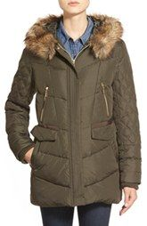 kensieFauxFur Trim Hooded Quilted Down & Feather FillCoat