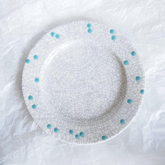 苫米地正樹 - リム皿 貫入 #white/turquoise