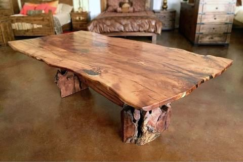 Root Live Edge Mesquite Rustic Dining Table Copper Inlay Rustic