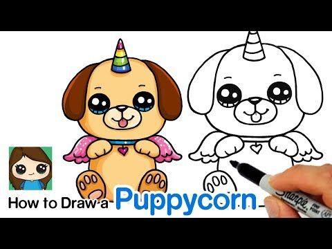 Draw So Cute Youtube Kawaii Drawings Puppy Cartoon Unicorn Drawing