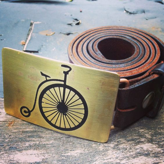 "Belt Buckle High Wheel Bicycle ""Penny Farthing""- Brass Copper"