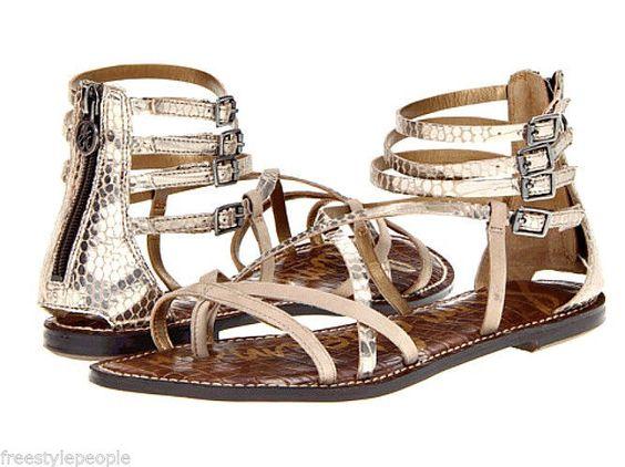 New SAM EDELMAN GABLE Gold/Bistro Nude Beige Sandals Shoes #SamEdelman #Strappy