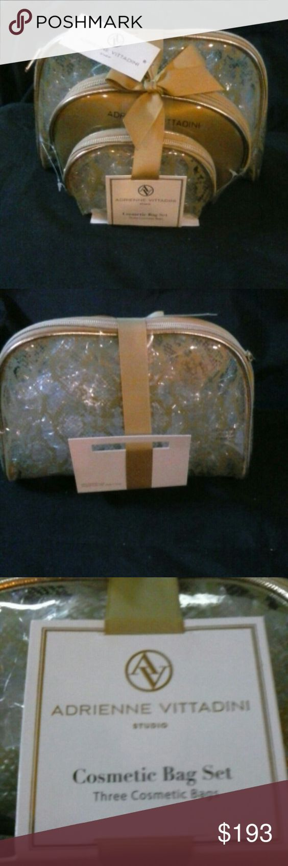 LAST CHANCE NWT Adrienne Vittadini Cosmetic Bags! Listing will be removed Sunday at midnight.  3 separate bag set CLEAR w/gold design.  See through makes things easy to see. If u travel or not these are attractive and functional at a great price and gift item! Adrienne Vittadini Bags Cosmetic Bags & Cases