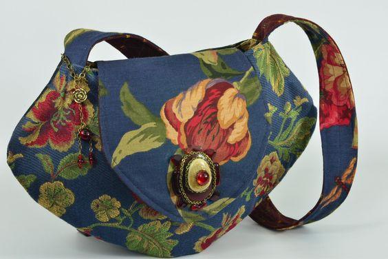 snap close blue flowered Old World tapestry shoulder bag
