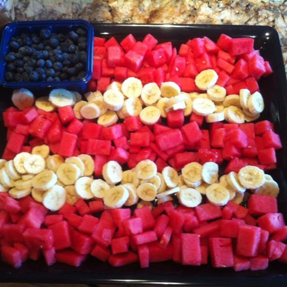 4th of July food flag using watermelon squares, bananas and bowl of blueberries for stars.