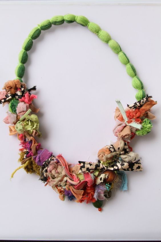 Upcycled fiber spring necklace: