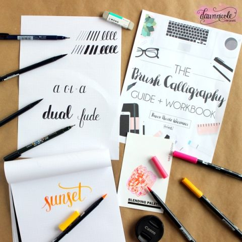 The Brush Calligraphy Guide + Workbook. Over 75 pages of instruction & practice sheets + 3 video lessons!   DawnNicoleDesigns.com