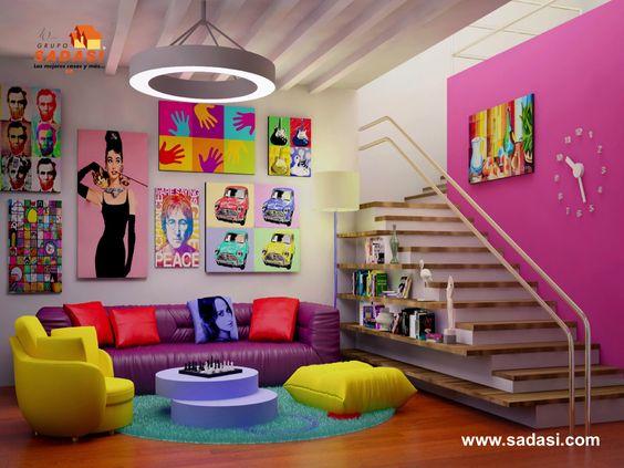 #sadasi LAS MEJORES CASAS DE MÉXICO. La decoración basada en el arte pop, tiene como objetivo cargar de energía cualquier ambiente, a través de brillantes colores y rebeldes diseños. Tonos como el violeta, marrón o verde pistache, son ideales para aplicar en detalles por medio cuadros, paredes e incluso, los muebles de la sala. En Grupo Sadasi, le invitamos a conocer el exclusivo desarrollo AVENIDA YUCATÁN. http://www.sadasi.com