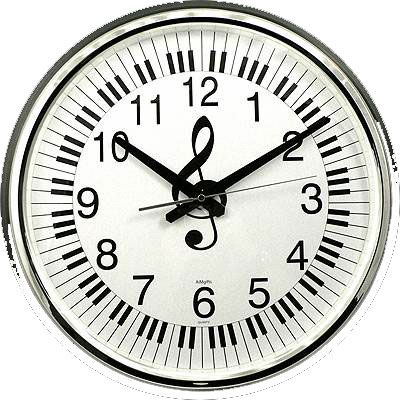 Wall Clock with Treble Clef and Keys (large)