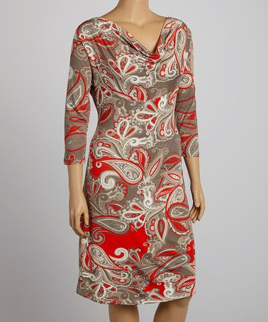 Red & Cream Paisley Drape Neck Dress - Plus by Reborn Collection #zulily #zulilyfinds