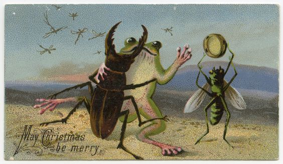 """May Christmas be Merry"" (19th-century Christmas card) (via Lilly Library at Indiana University, Bloomington):"
