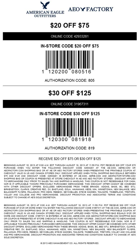Pinned August 17Th: $20 Off $75 And More At American Eagle