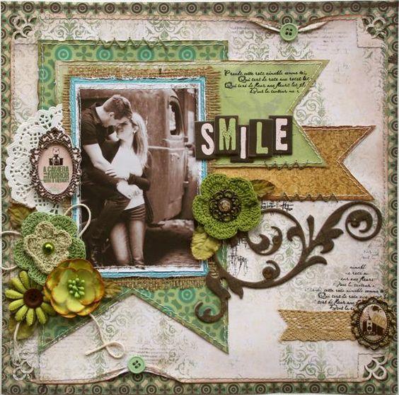 Layout: Smile **Bo Bunnys Mama-razzi2 & Background Stamps!**  gorgeous