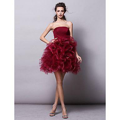 balón vestido strapless corto / mini vestido de cóctel de tul (2463387) – MXN $ 1,592.84