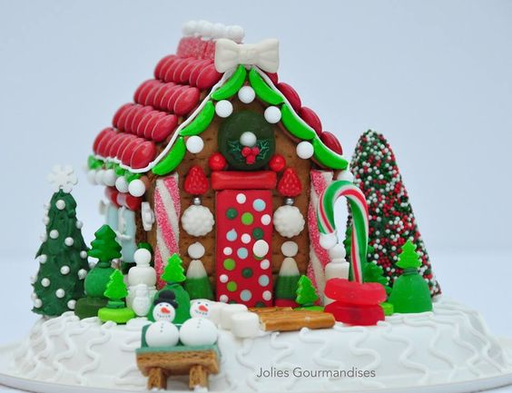 Vibrant red and greens on mini Christmas gingerbread house
