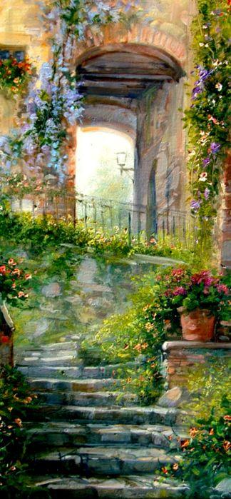 Resultado de imagem para caminhos portas e janelas floridas pinturas