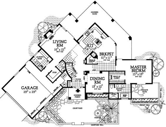 House plans home design and home on pinterest for Southwest house plans with courtyard