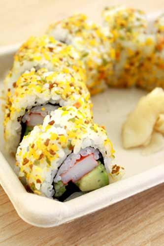 Genji Sushi Bars Furikake Spice Roll: Yellow Spice California Roll at Whole Foods Market