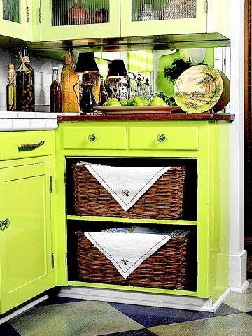 Wicker basets for storage in old kitchen cabinet: Basket Storage, Wicker Baskets, Old Kitchen Cabinets, Living Room, Storage Idea, Kitchen Design, Cabinet Doors, Storage Baskets, Basket Drawers