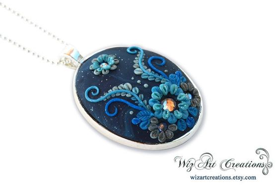 Galaxy Flower Handmade Polymer Clay Pendant by WizArtCreations