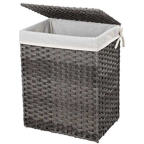 Songmics Handwoven Laundry Basket 90l Synthetic Rattan W Https