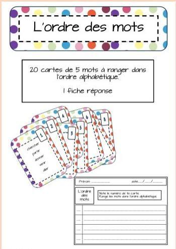 Jeux et ateliers de vocabulaire: apprendre à ranger les mots par ordre alphabétique