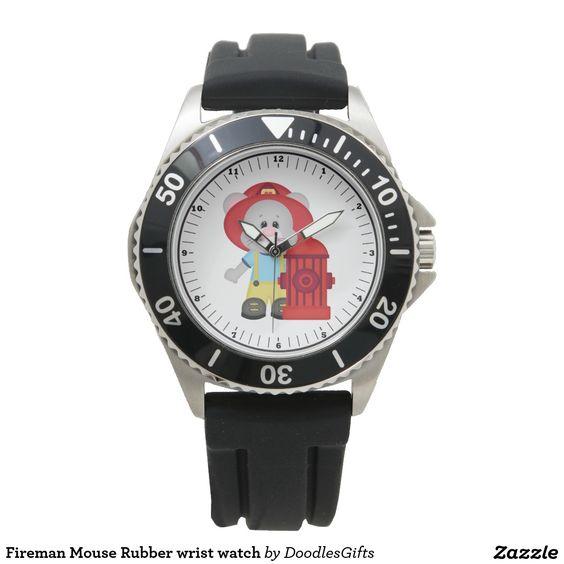 Fireman Mouse Rubber wrist watch