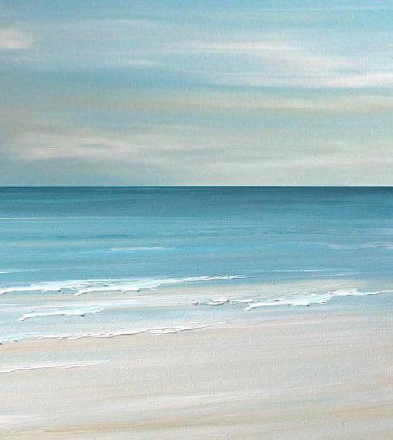 Beach seascape painting print  Blue Coastal Ocean by FradetFineArt, $40.00