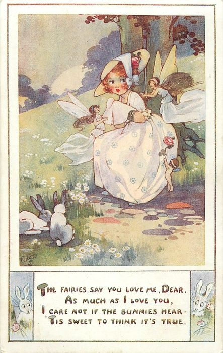girl with fairies, rabbits, and cupid  vintage postcard by Agnes Richardson