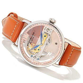 619-810 - Stührling Original Men's Aristocrat Automatic Bridge Skeletonized Dial Leather Strap Watch