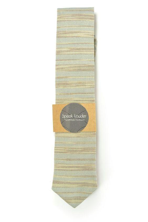 Cream blue stripe necktie - Wedding Mens Tie Skinny Necktie - Laid-Back necktie by speaklouder on Etsy