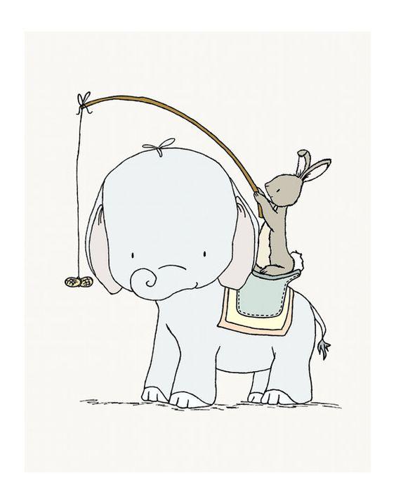 Elefante y conejo pescando