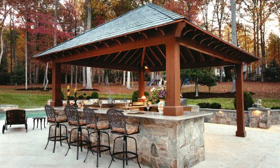 Outdoor kitchen with bar design tool pool pergola plans for Pool design tool