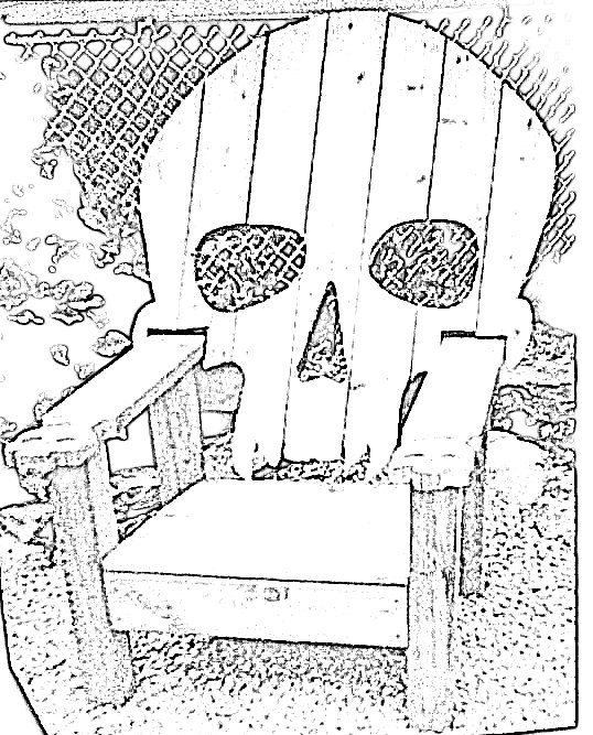 Skull chair pattern plans only adirondack chair yard furniture cedar skeleton - Patterns for adirondack chairs ...