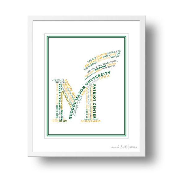 George Mason University Typographical Art Print  von afranksdesigns